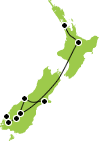 12 Day Christchurch to Auckland Map