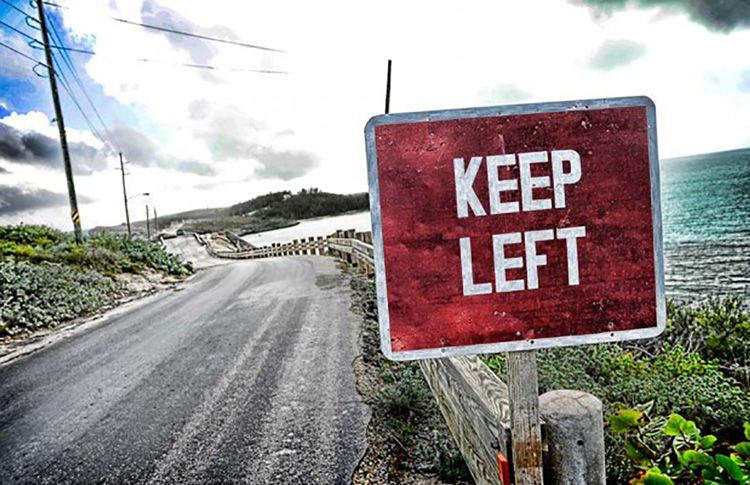 A keep left road sign shown on a New Zealand road