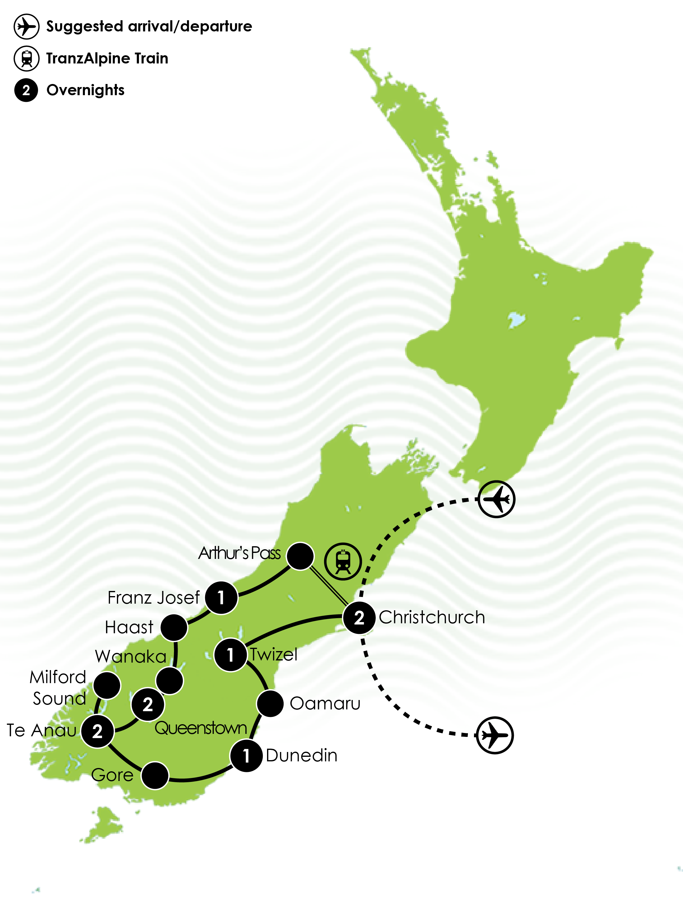 South Island Spectacular Map