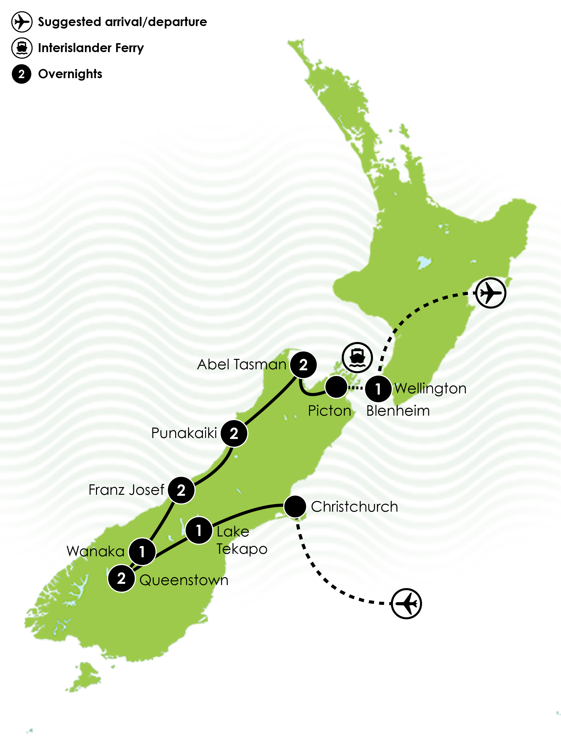 Map of the 12 Day South Island Adrenalin Junkie Tour
