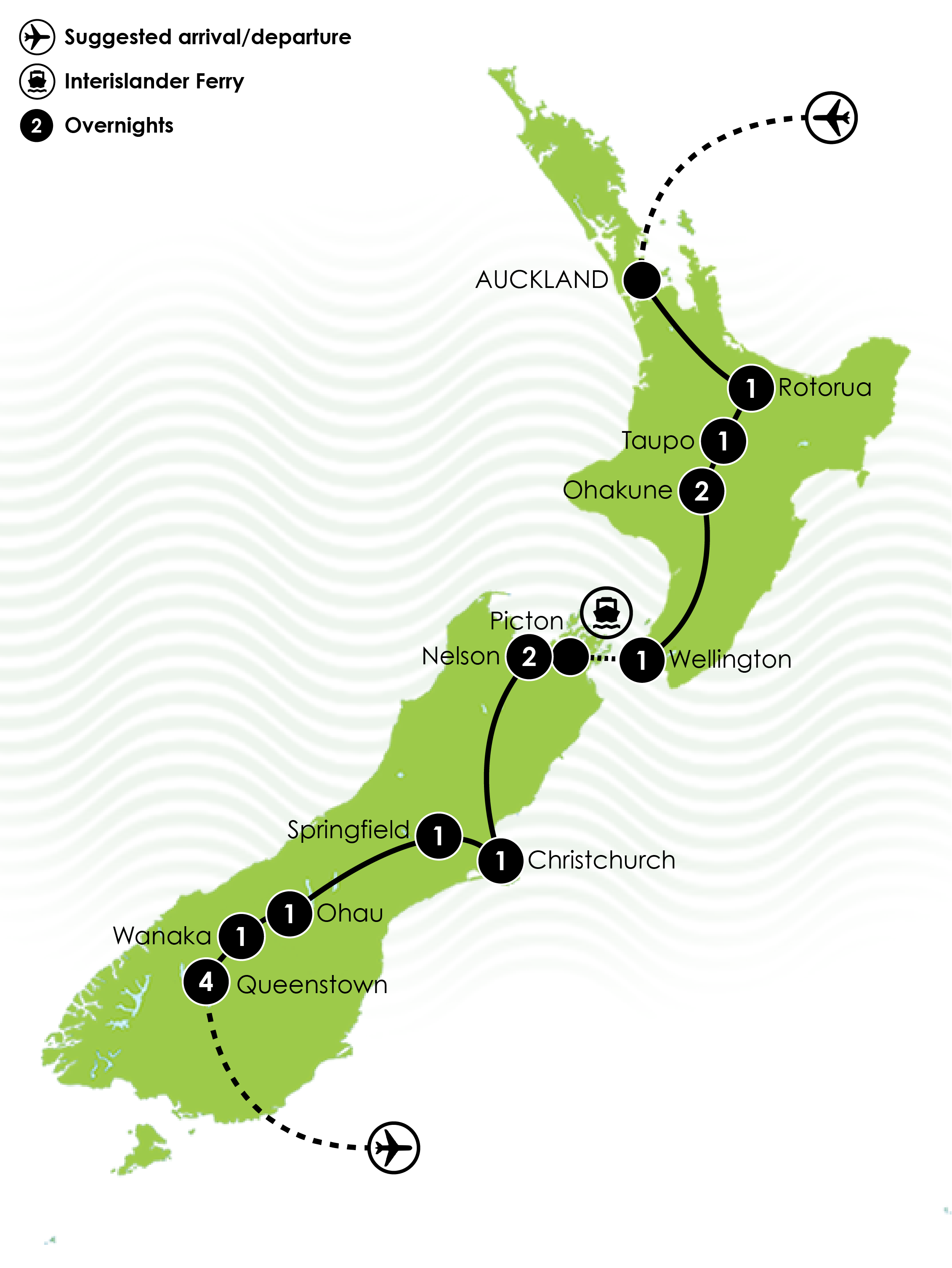16 Day New Zealand MTB Dreamer Tour Large Map