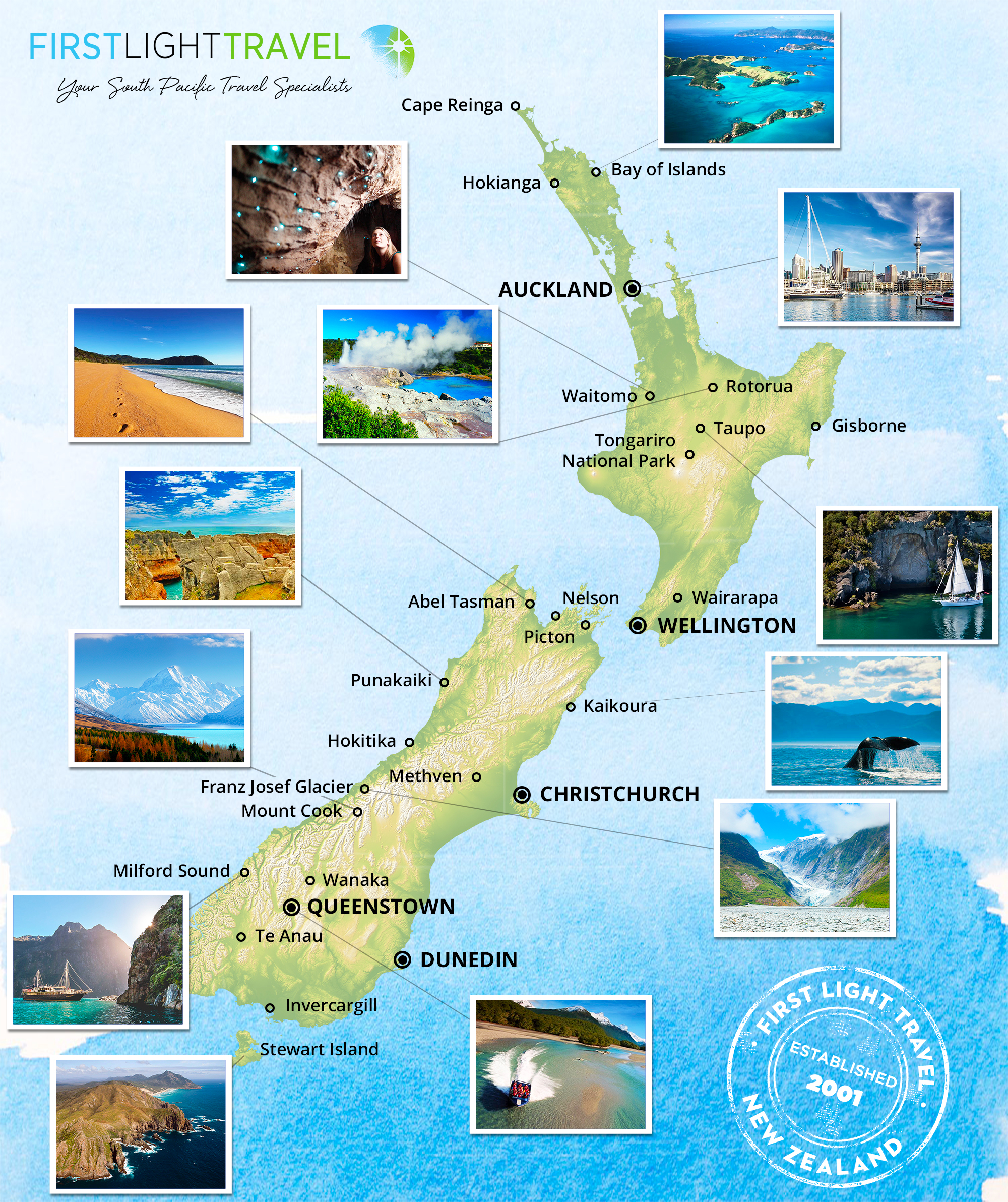 New Zealand Map South.New Zealand Travel Maps First Light Travel