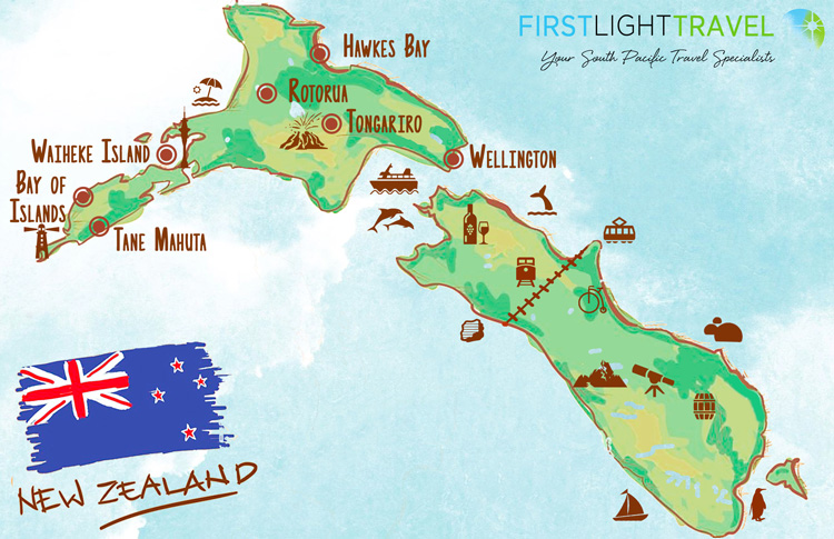 Map North Island Of New Zealand.Top Tourist Attractions In The North Island New Zealand