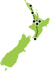 8 Day Northern Experience Auckland to Wellington Itinerary Map