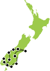 Small Map of the South Island Tour