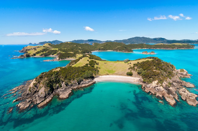 Aerial view of Northlands Bay of Islands with its turquoise calm waters.