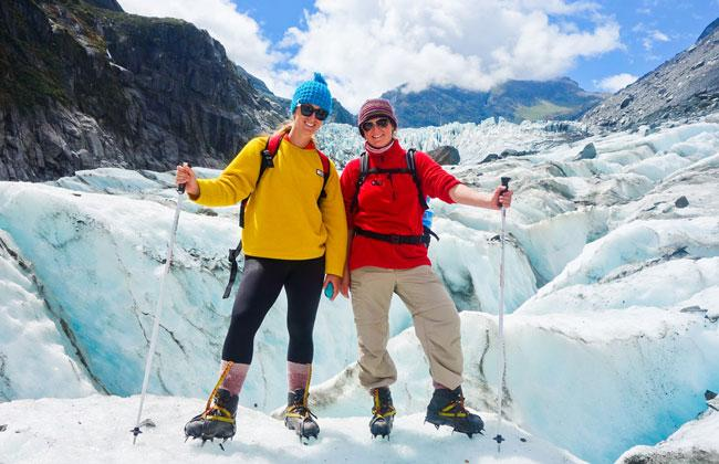 Walking on the 'river of Ice' Fox Glacier.