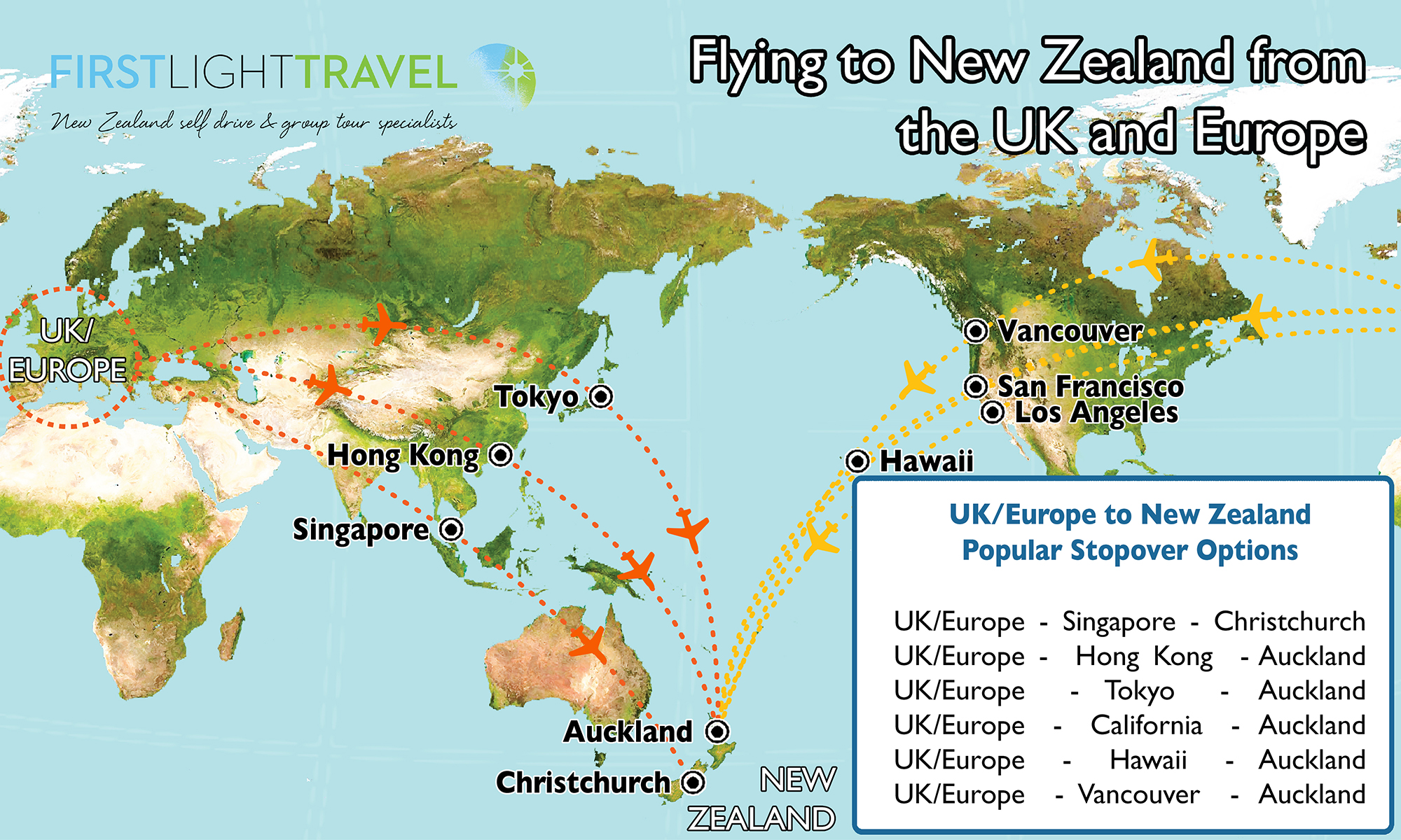 Tips advice on getting to new zealand nz holiday planner map showing the flight paths from the uk and europe into new zealand gumiabroncs Gallery