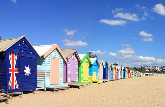 The colourful beach houses on Brighton Beach in Melbourne.