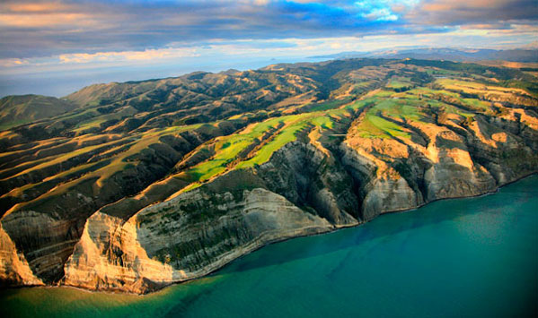 Cape Kidnappers sheer faces are clearly from this aerial shot of the golf course.