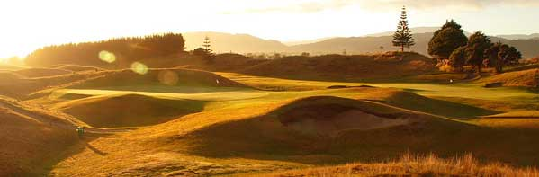 Sun setting over the beautiful true links Paraparaumu Beach Golf Course