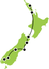 Small map of New Zealand Whale and dolphin tour