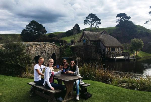 Everyone having fun at hobbiton