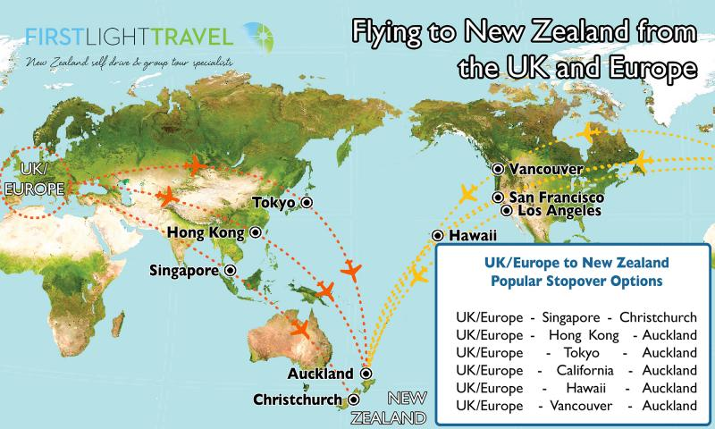 Map showing the flight paths from the UK and Europe into New Zealand