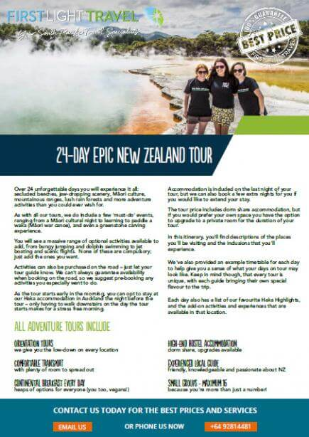 Brochure Cover 25 Day Epic New Zealand Tour