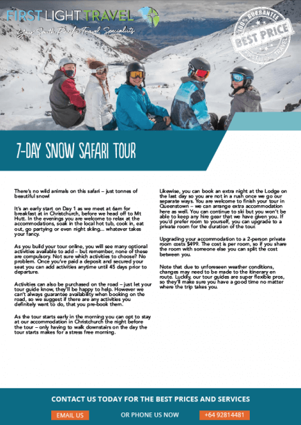 Cover of South Island Snow Safari Brochure