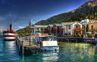 Queenstown Wharf on a sunny day.