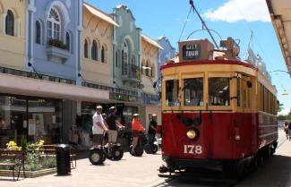 Red Tram in Christchurch as it moves around the city