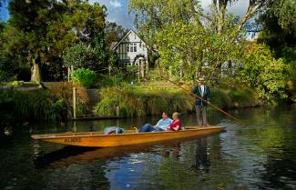 Punting on the river Thames in Christchurch