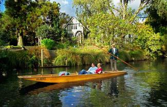 Punting on Avon River, Christchurch