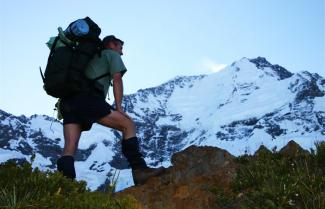 Hiking on Ball Pass Mount Cook