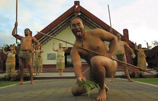 Maori dance at a traditional Marae (Traditional meeting House)