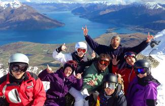 Small group enjoying the South Island snow