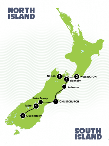 Map - 11 Days Lord of the Rings South Island Itinerary