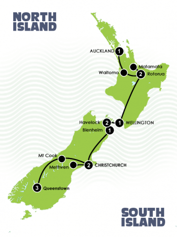 map of 13 Day New Zealand LOTR self drive tour