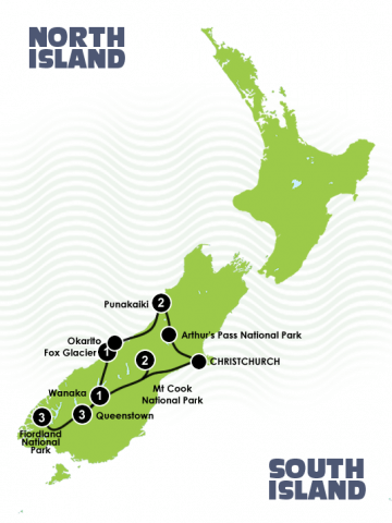 11/13 Day New Zealand Trails Christchurch to Queenstown Map