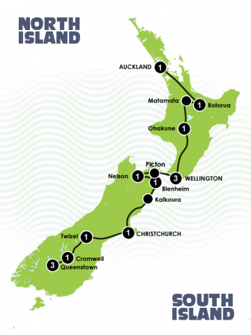 14 Days Lord of the Rings itinerary Auckland to Queenstown