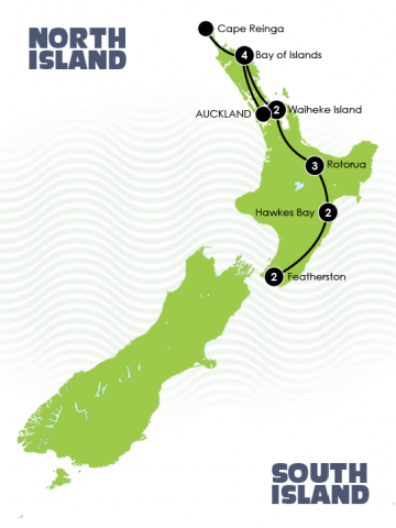 Luxury Lodges of New Zealand Tour Map self drive