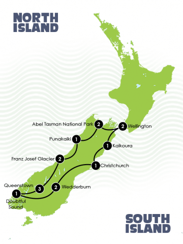 Map of New Zealand small group tour adventure itinerary