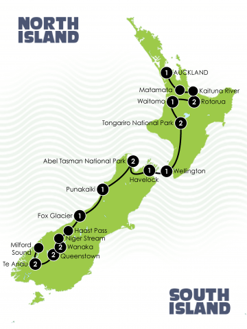 Tour Map: New Zealands Northbound Trilogy Adventure Large