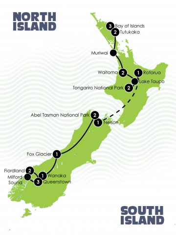 Tour Map: The Ultimate New Zealand Adventure Tour - Large
