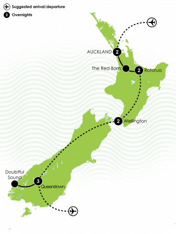 10 Day Inspiring New Zealand Large Map