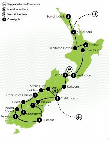 17 Day Kia Ora New Zealand Tour Large Map