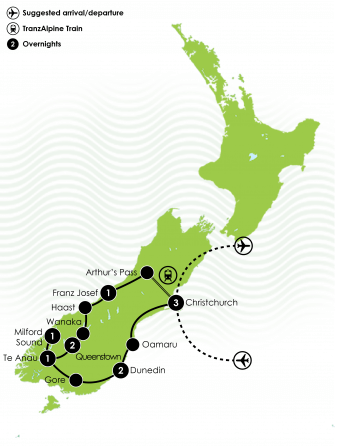 11 Day Festive South Island Tour Large Map
