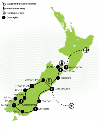The Solo Travellers Luxury Tour of New Zealand Large Map