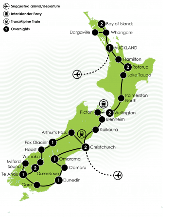 Highlights of New Zealand Coach Tour Large Map