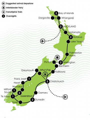 New Zealand Rail, Cruise & Coach Tour Large Map
