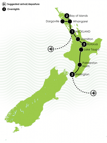 Taste of New Zealand's North Island Coach Tour Large Map