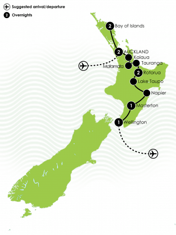 The Northern Spectacular NZ Coach Tour Big Map