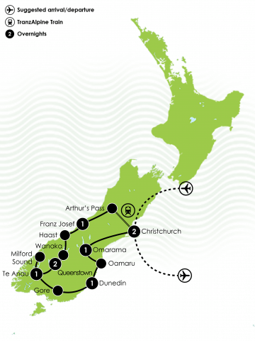 Taste of New Zealand's South Island Coach Tour Large Map