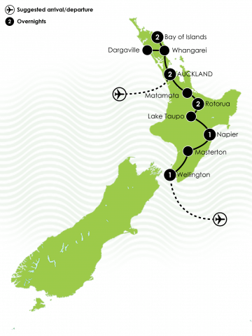 Ultimate New Zealand North Island Luxury Coach Tour Large Map