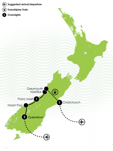 5 Day Queenstown, West Coach & TranzAlpine Large Map