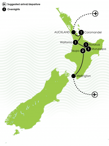 North Island Adventure Tour Large Map