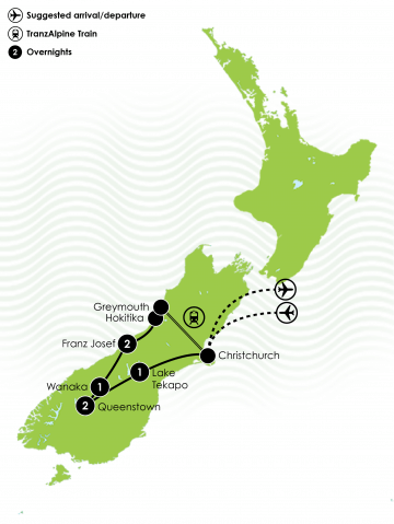 8 Day South Island Lick Tour Large Map