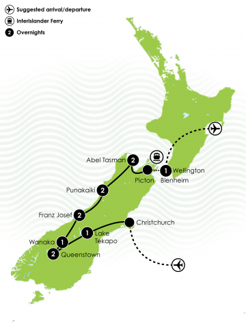 12 Day South Island Adrenalin Junkie Tour Large Map