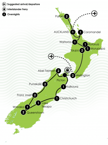 25 Day Epic New Zealand Tour Large Map
